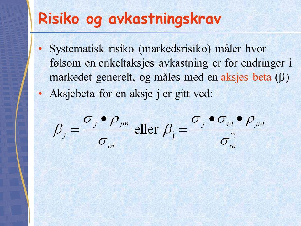 Risiko og avkastningskrav •Systematisk risiko (markedsrisiko) måler hvor følsom en enkeltaksjes avkastning er for endringer i markedet generelt, og må