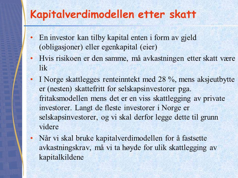 Kapitalverdimodellen etter skatt •En investor kan tilby kapital enten i form av gjeld (obligasjoner) eller egenkapital (eier) •Hvis risikoen er den sa