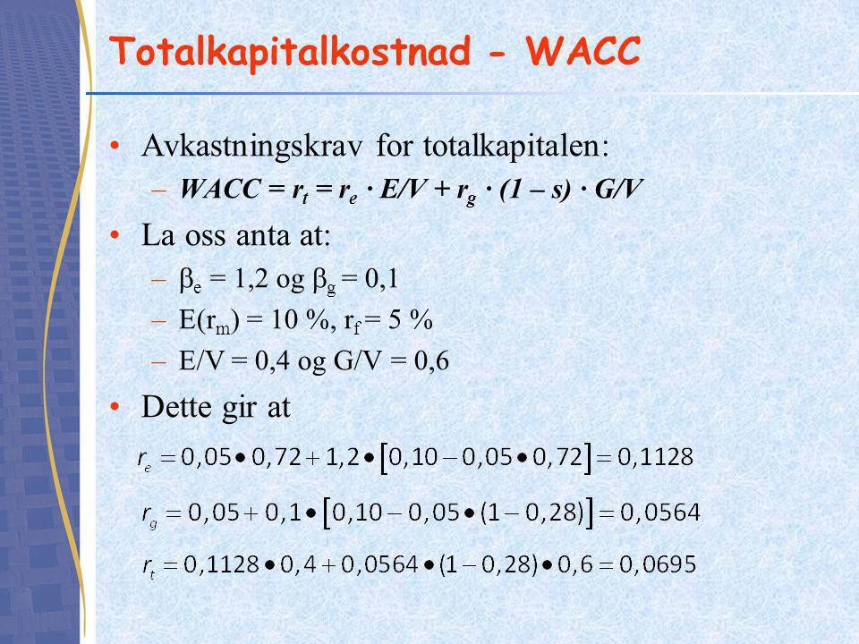 Totalkapitalkostnad - WACC •Avkastningskrav for totalkapitalen: –WACC = r t = r e ∙ E/V + r g ∙ (1 – s) ∙ G/V •La oss anta at: –  e = 1,2 og  g = 0,