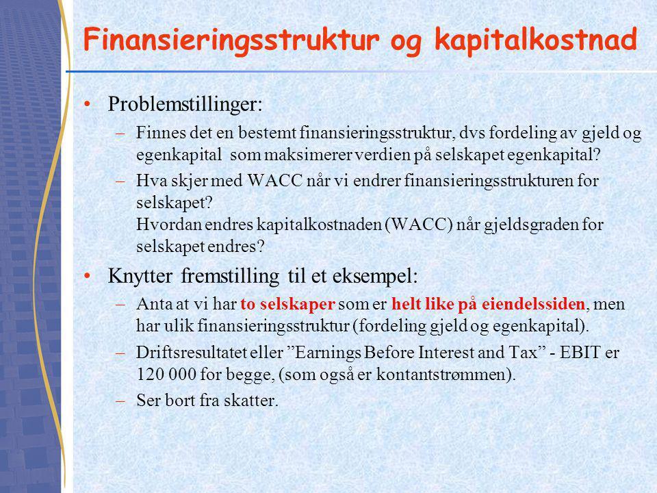 Finansieringsstruktur og kapitalkostnad •Problemstillinger: –Finnes det en bestemt finansieringsstruktur, dvs fordeling av gjeld og egenkapital som ma