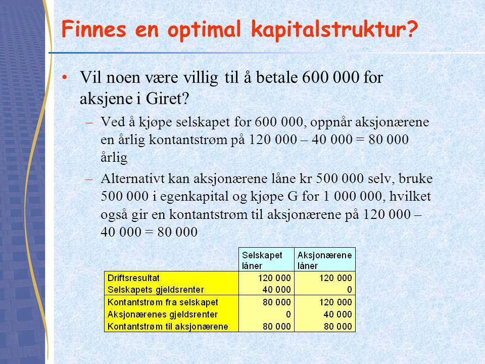 Finnes en optimal kapitalstruktur? •Vil noen være villig til å betale 600 000 for aksjene i Giret? –Ved å kjøpe selskapet for 600 000, oppnår aksjonær