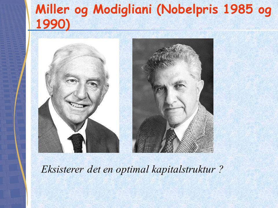 Miller og Modigliani (Nobelpris 1985 og 1990) Eksisterer det en optimal kapitalstruktur ?