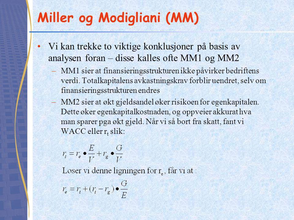 Miller og Modigliani (MM) •Vi kan trekke to viktige konklusjoner på basis av analysen foran – disse kalles ofte MM1 og MM2 –MM1 sier at finansieringss
