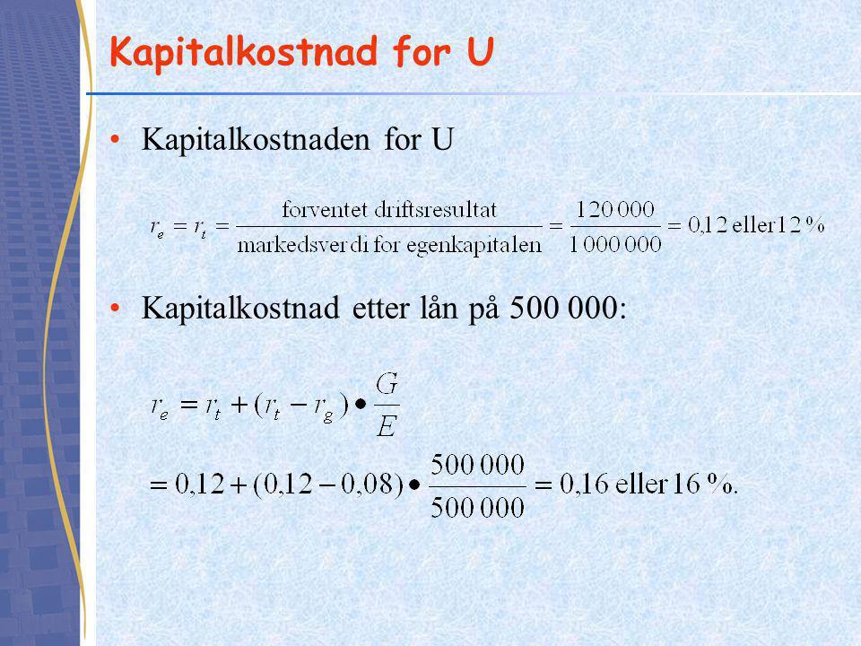 Kapitalkostnad for U •Kapitalkostnaden for U •Kapitalkostnad etter lån på 500 000: