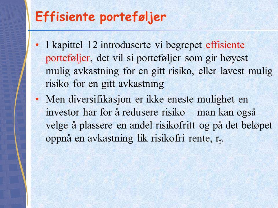Effisiente porteføljer •I kapittel 12 introduserte vi begrepet effisiente porteføljer, det vil si porteføljer som gir høyest mulig avkastning for en g
