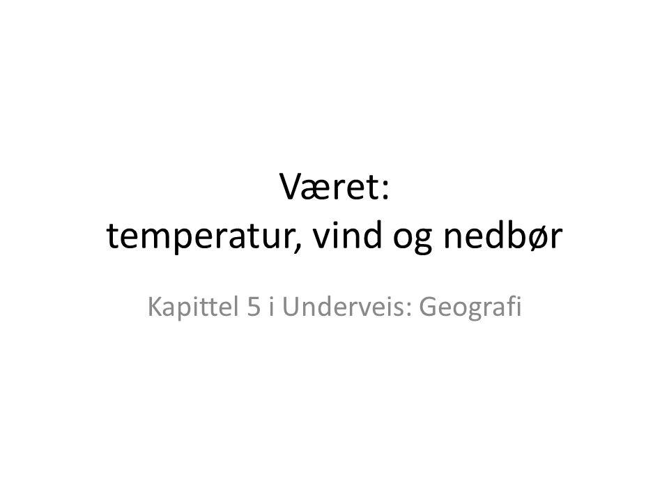 Været: temperatur, vind og nedbør Kapittel 5 i Underveis: Geografi