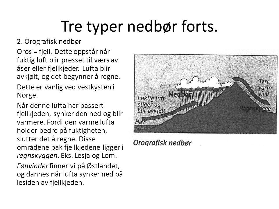 Tre typer nedbør forts.2. Orografisk nedbør Oros = fjell.