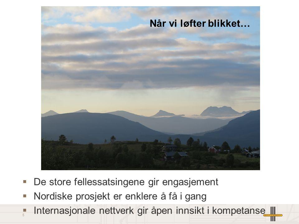 5  De store fellessatsingene gir engasjement  Nordiske prosjekt er enklere å få i gang  Internasjonale nettverk gir åpen innsikt i kompetanse Når vi løfter blikket…