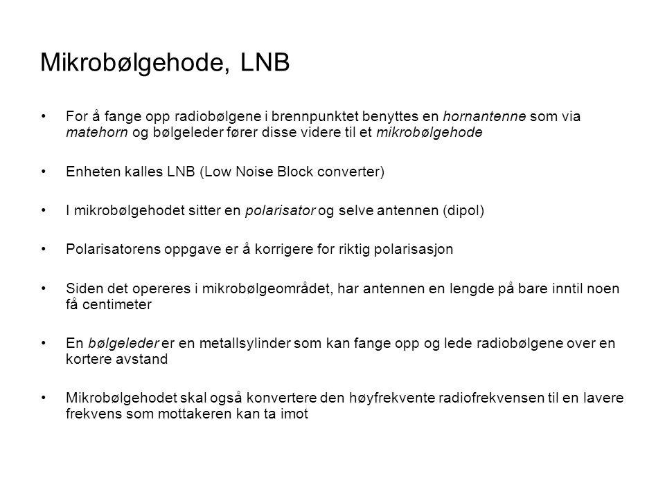 Mikrobølgehode, LNB •For å fange opp radiobølgene i brennpunktet benyttes en hornantenne som via matehorn og bølgeleder fører disse videre til et mikr