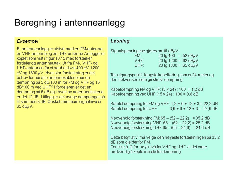 Beregning i antenneanlegg Løsning Signalspenningene gjøres om til dB  V: FM:20 lg 400 = 52 dB  V VHF:20 lg 1200 = 62 dB  V UHF:20 lg 1800 = 65 dB 