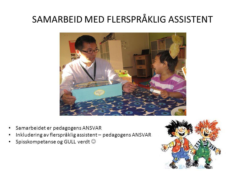 SAMARBEID MED FLERSPRÅKLIG ASSISTENT • Samarbeidet er pedagogens ANSVAR • Inkludering av flerspråklig assistent – pedagogens ANSVAR • Spisskompetanse