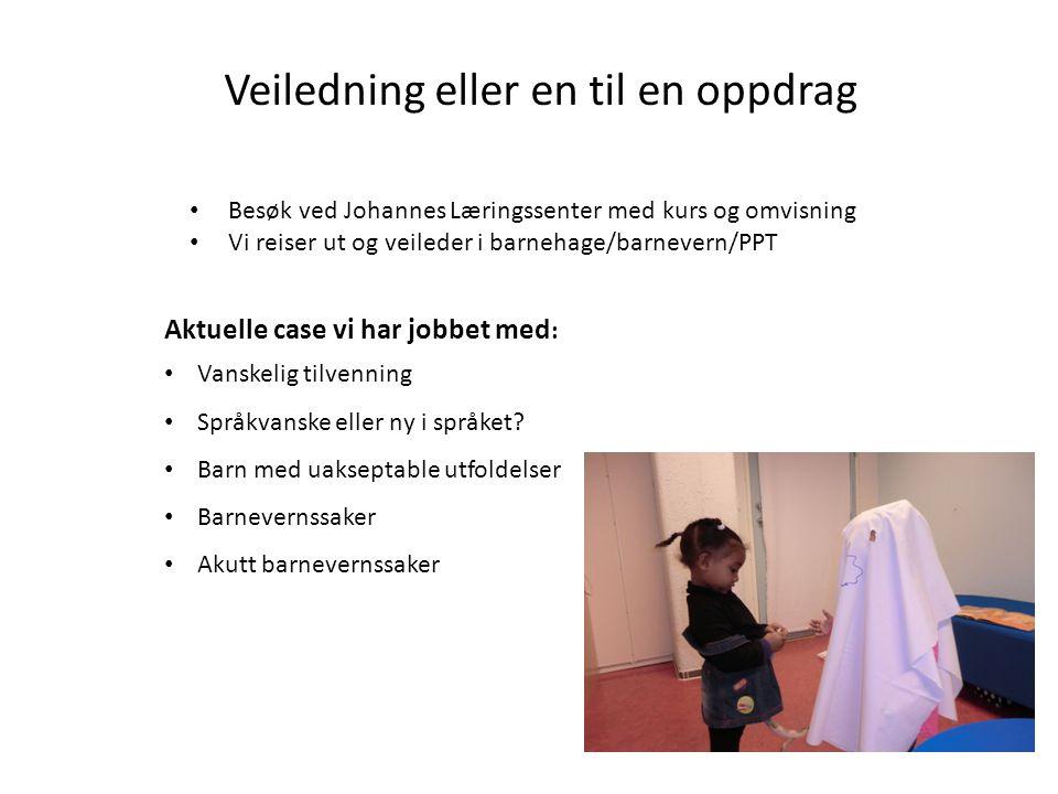 Veiledning eller en til en oppdrag • Besøk ved Johannes Læringssenter med kurs og omvisning • Vi reiser ut og veileder i barnehage/barnevern/PPT Aktue