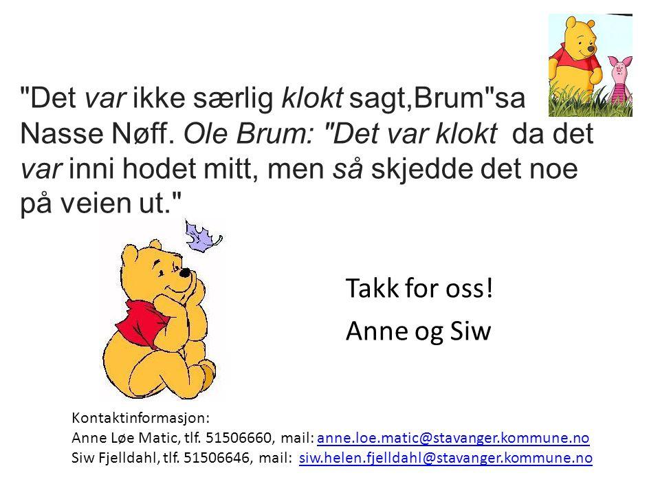 Det var ikke særlig klokt sagt,Brum sa Nasse Nøff.