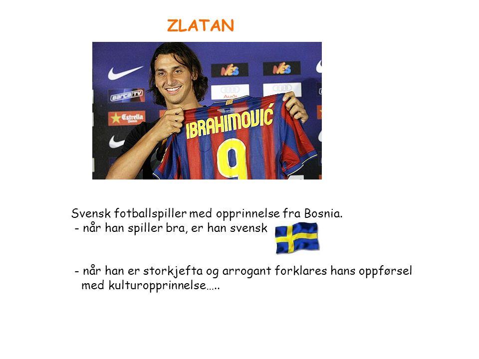 Svensk fotballspiller med opprinnelse fra Bosnia. - når han spiller bra, er han svensk - når han er storkjefta og arrogant forklares hans oppførsel me