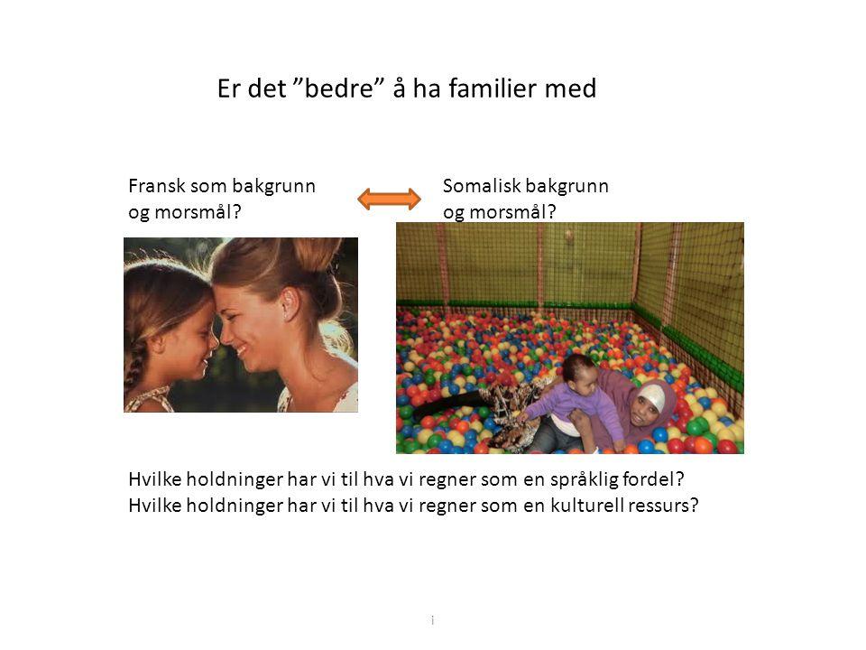 """Er det """"bedre"""" å ha familier med Fransk som bakgrunn og morsmål? Somalisk bakgrunn og morsmål? Hvilke holdninger har vi til hva vi regner som en språk"""