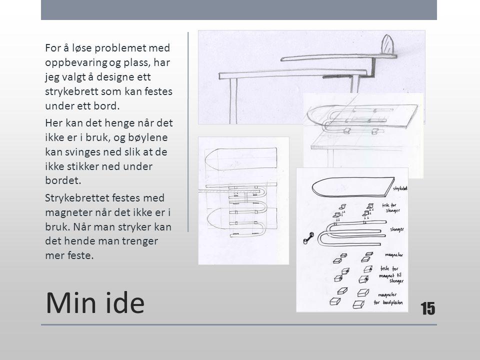 Min ide For å løse problemet med oppbevaring og plass, har jeg valgt å designe ett strykebrett som kan festes under ett bord. Her kan det henge når de