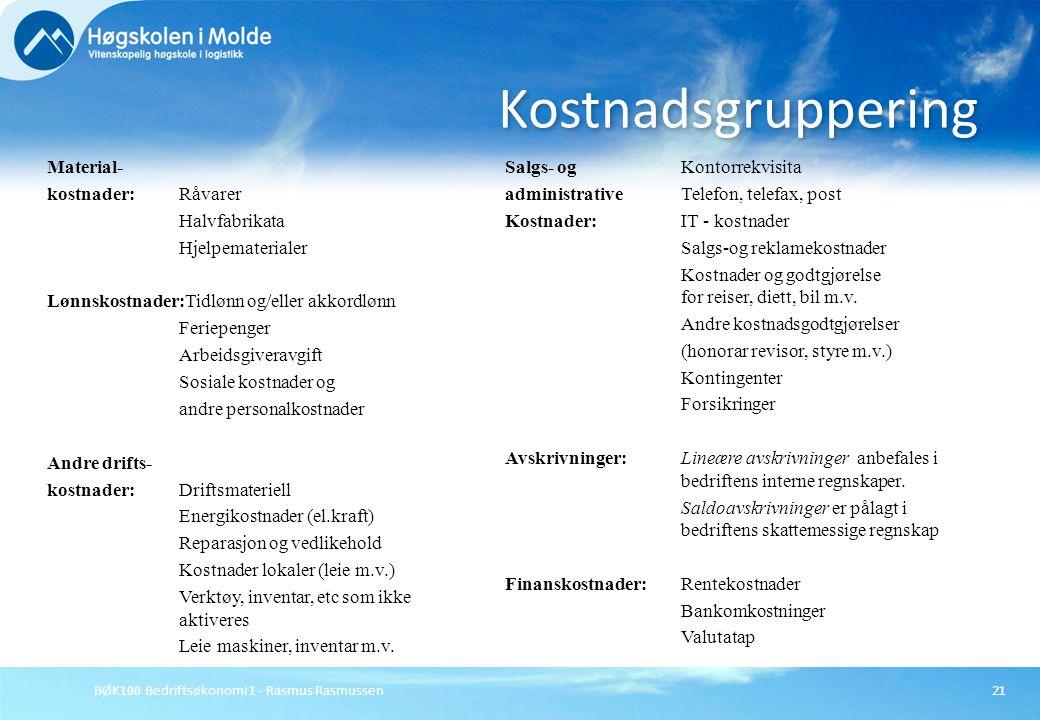 BØK100 Bedriftsøkonomi 1 - Rasmus Rasmussen21 Kostnadsgruppering Material- kostnader:Råvarer Halvfabrikata Hjelpematerialer Lønnskostnader:Tidlønn og/