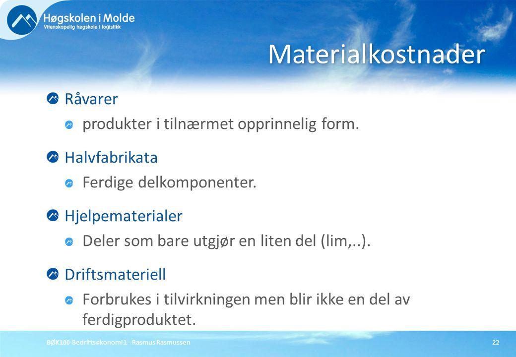 BØK100 Bedriftsøkonomi 1 - Rasmus Rasmussen22 Råvarer produkter i tilnærmet opprinnelig form. Halvfabrikata Ferdige delkomponenter. Hjelpematerialer D