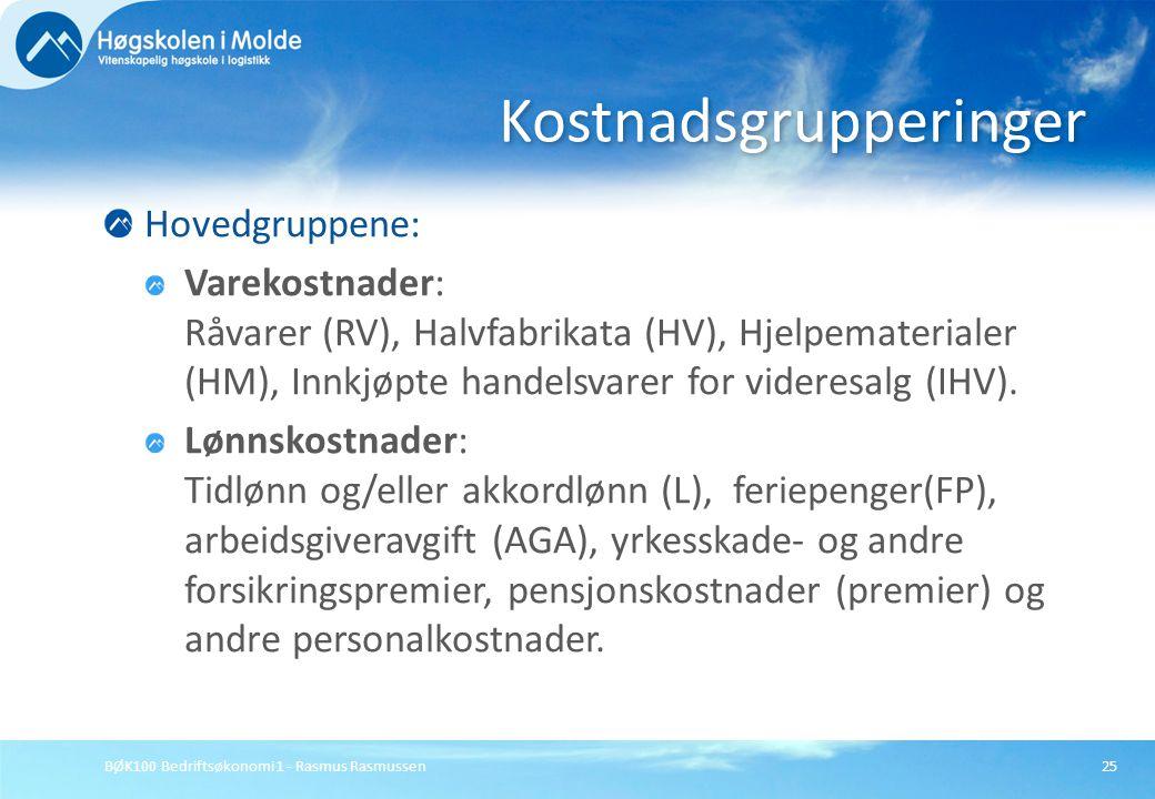 BØK100 Bedriftsøkonomi 1 - Rasmus Rasmussen25 Hovedgruppene: Varekostnader: Råvarer (RV), Halvfabrikata (HV), Hjelpematerialer (HM), Innkjøpte handels
