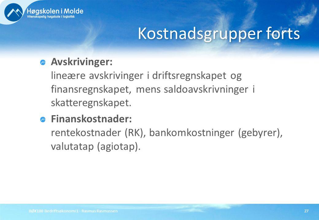 BØK100 Bedriftsøkonomi 1 - Rasmus Rasmussen27 Avskrivinger: lineære avskrivinger i driftsregnskapet og finansregnskapet, mens saldoavskrivninger i ska