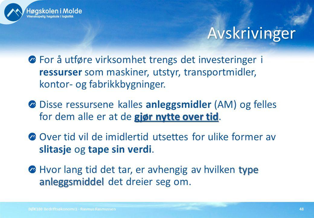 BØK100 Bedriftsøkonomi 1 - Rasmus Rasmussen48 For å utføre virksomhet trengs det investeringer i ressurser som maskiner, utstyr, transportmidler, kont