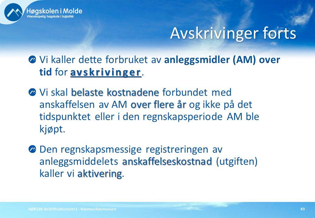BØK100 Bedriftsøkonomi 1 - Rasmus Rasmussen49 avskrivinger Vi kaller dette forbruket av anleggsmidler (AM) over tid for avskrivinger. belaste kostnade