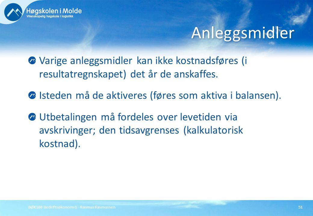 BØK100 Bedriftsøkonomi 1 - Rasmus Rasmussen51 Varige anleggsmidler kan ikke kostnadsføres (i resultatregnskapet) det år de anskaffes. Isteden må de ak