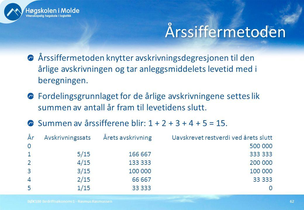 BØK100 Bedriftsøkonomi 1 - Rasmus Rasmussen62 Årssiffermetoden knytter avskrivningsdegresjonen til den årlige avskrivningen og tar anleggsmiddelets le