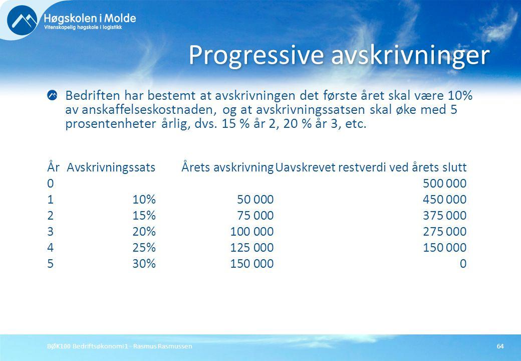 BØK100 Bedriftsøkonomi 1 - Rasmus Rasmussen64 Bedriften har bestemt at avskrivningen det første året skal være 10% av anskaffelseskostnaden, og at avs
