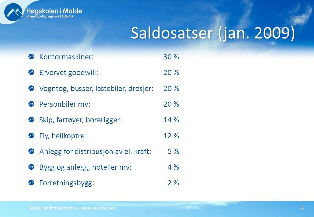 BØK100 Bedriftsøkonomi 1 - Rasmus Rasmussen70 Kontormaskiner: 30 % Ervervet goodwill: 20 % Vogntog, busser, lastebiler, drosjer: 20 % Personbiler mv: