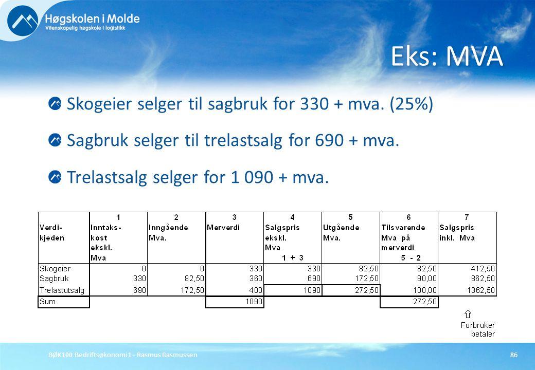 BØK100 Bedriftsøkonomi 1 - Rasmus Rasmussen86 Skogeier selger til sagbruk for 330 + mva. (25%) Sagbruk selger til trelastsalg for 690 + mva. Trelastsa