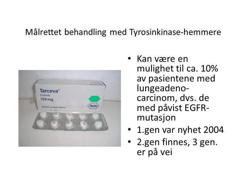Målrettet behandling med Tyrosinkinase-hemmere • Kan være en mulighet til ca. 10% av pasientene med lungeadeno- carcinom, dvs. de med påvist EGFR- mut