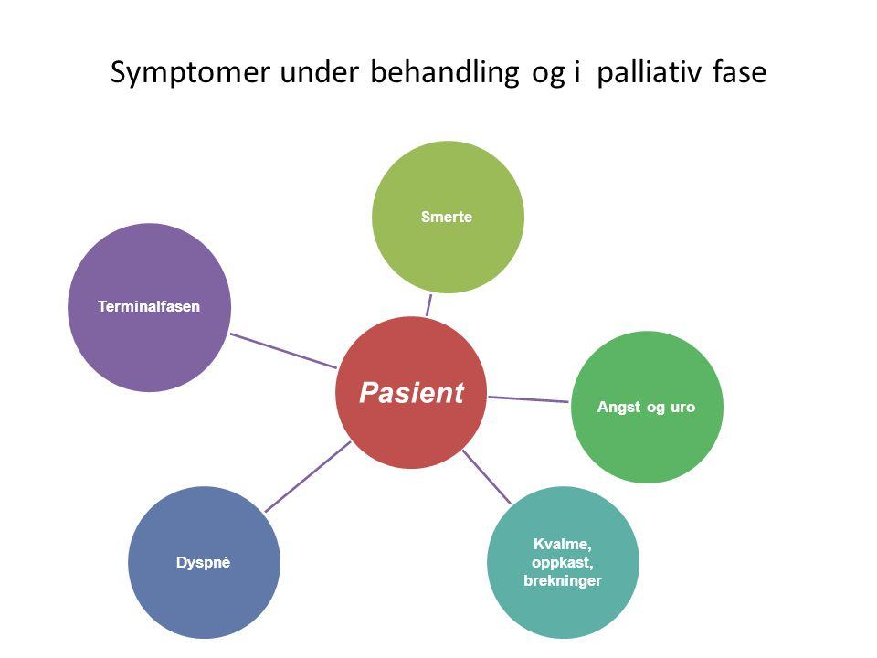 Symptomer under behandling og i palliativ fase Pasient SmerteAngst og uro Kvalme, oppkast, brekninger Dyspnè Terminalfasen