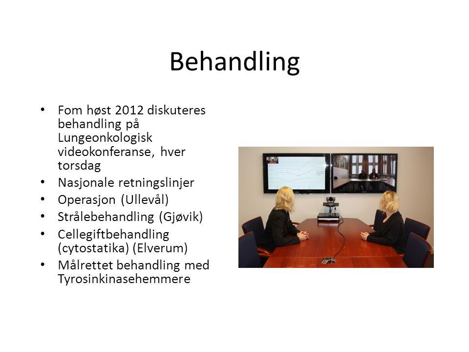 Behandling • Fom høst 2012 diskuteres behandling på Lungeonkologisk videokonferanse, hver torsdag • Nasjonale retningslinjer • Operasjon (Ullevål) • S