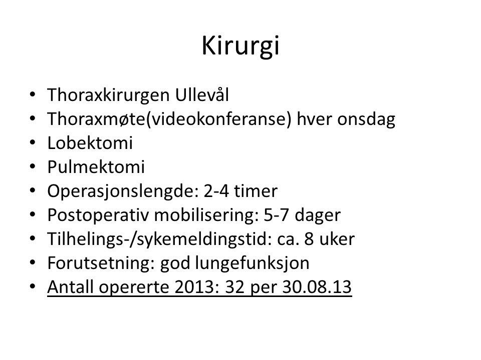 Kirurgi • Thoraxkirurgen Ullevål • Thoraxmøte(videokonferanse) hver onsdag • Lobektomi • Pulmektomi • Operasjonslengde: 2-4 timer • Postoperativ mobil