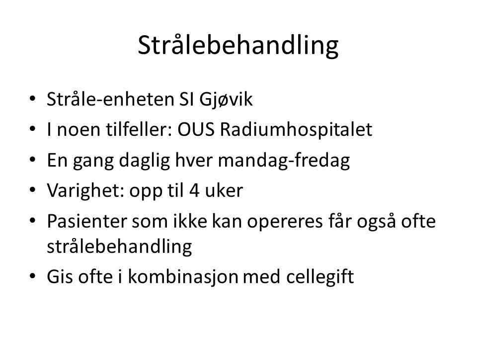 Strålebehandling • Stråle-enheten SI Gjøvik • I noen tilfeller: OUS Radiumhospitalet • En gang daglig hver mandag-fredag • Varighet: opp til 4 uker •