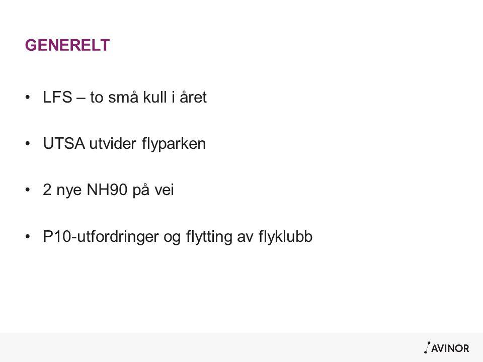 GENERELT •LFS – to små kull i året •UTSA utvider flyparken •2 nye NH90 på vei •P10-utfordringer og flytting av flyklubb