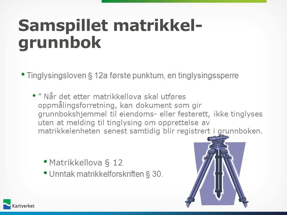 """Samspillet matrikkel- grunnbok • Tinglysingsloven § 12a første punktum, en tinglysingssperre • """" Når det etter matrikkellova skal utføres oppmålingsfo"""