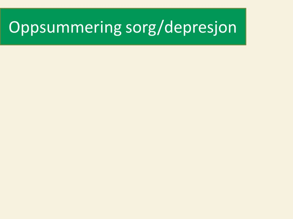 Oppsummering sorg/depresjon