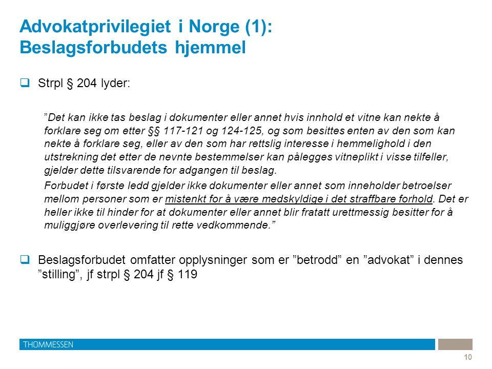 "Advokatprivilegiet i Norge (1): Beslagsforbudets hjemmel 10  Strpl § 204 lyder: ""Det kan ikke tas beslag i dokumenter eller annet hvis innhold et vit"