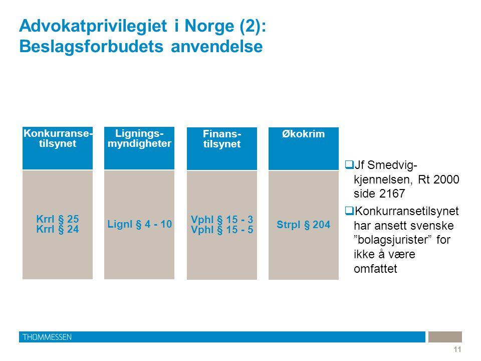 """Advokatprivilegiet i Norge (2): Beslagsforbudets anvendelse 11  Jf Smedvig- kjennelsen, Rt 2000 side 2167  Konkurransetilsynet har ansett svenske """"b"""