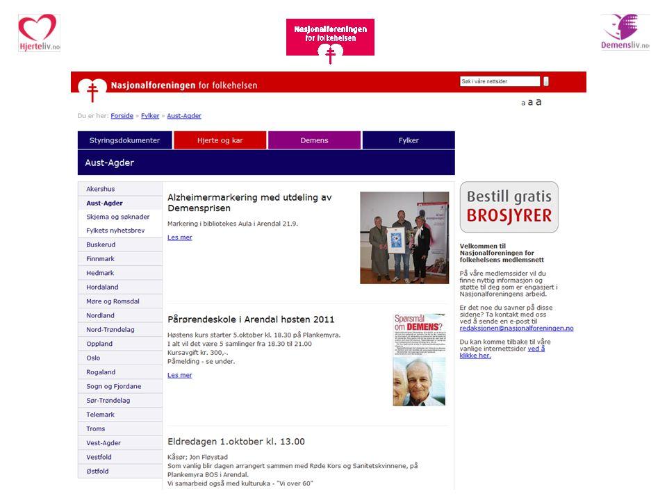 Nettsider Medlemsnettet er 'lukket' 3 åpne nettsider: www.nasjonalforeningen.no www.demensliv.no www.hjerteliv.no