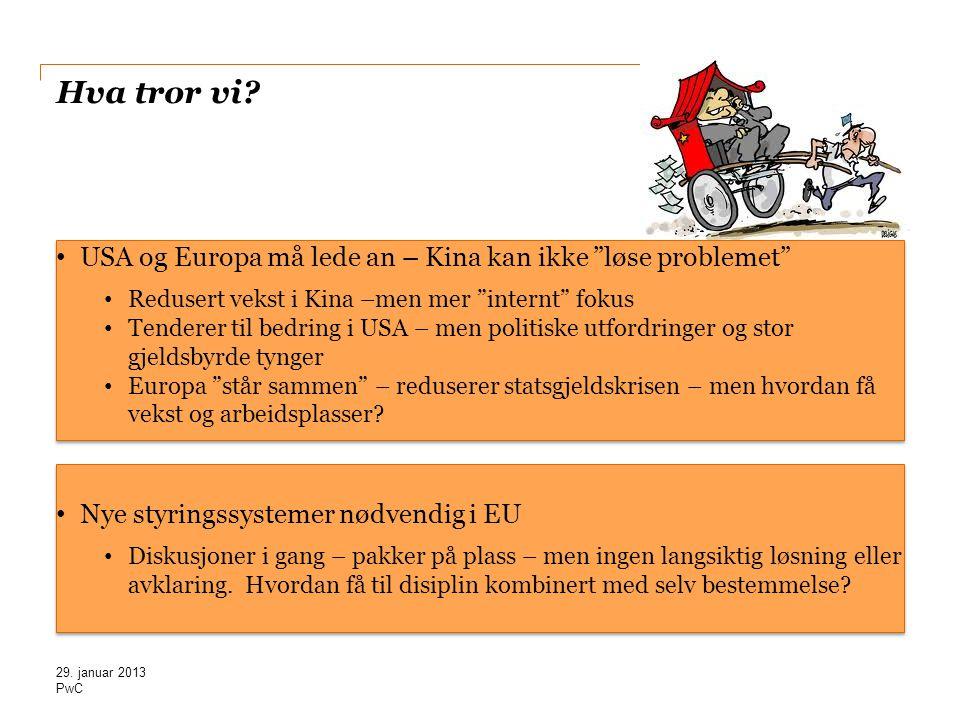 """PwC Hva tror vi? • USA og Europa må lede an – Kina kan ikke """"løse problemet"""" • Redusert vekst i Kina –men mer """"internt"""" fokus • Tenderer til bedring i"""