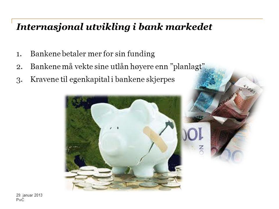 """PwC Internasjonal utvikling i bank markedet 1.Bankene betaler mer for sin funding 2.Bankene må vekte sine utlån høyere enn """"planlagt"""" 3.Kravene til eg"""