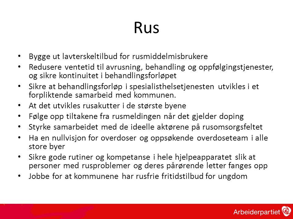 Rus • Bygge ut lavterskeltilbud for rusmiddelmisbrukere • Redusere ventetid til avrusning, behandling og oppfølgingstjenester, og sikre kontinuitet i