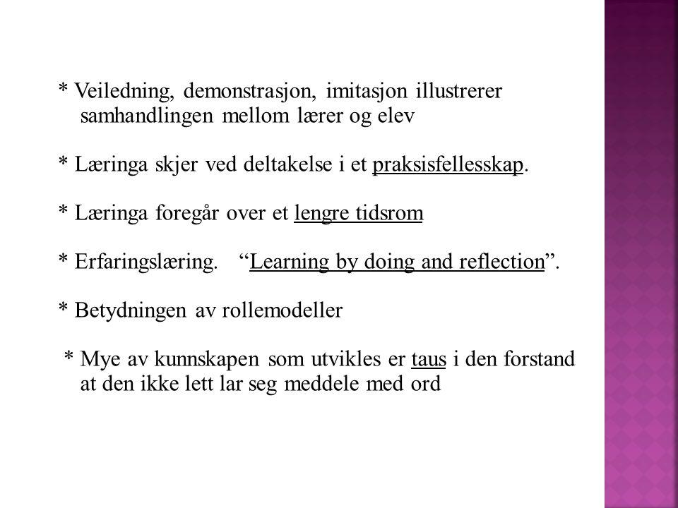 * Veiledning, demonstrasjon, imitasjon illustrerer samhandlingen mellom lærer og elev * Læringa skjer ved deltakelse i et praksisfellesskap. * Læringa