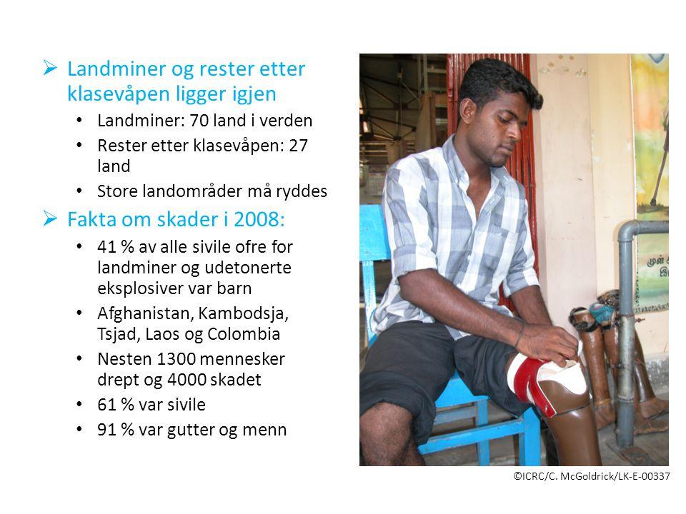  Landminer og rester etter klasevåpen ligger igjen • Landminer: 70 land i verden • Rester etter klasevåpen: 27 land • Store landområder må ryddes  Fakta om skader i 2008: • 41 % av alle sivile ofre for landminer og udetonerte eksplosiver var barn • Afghanistan, Kambodsja, Tsjad, Laos og Colombia • Nesten 1300 mennesker drept og 4000 skadet • 61 % var sivile • 91 % var gutter og menn ©ICRC/C.