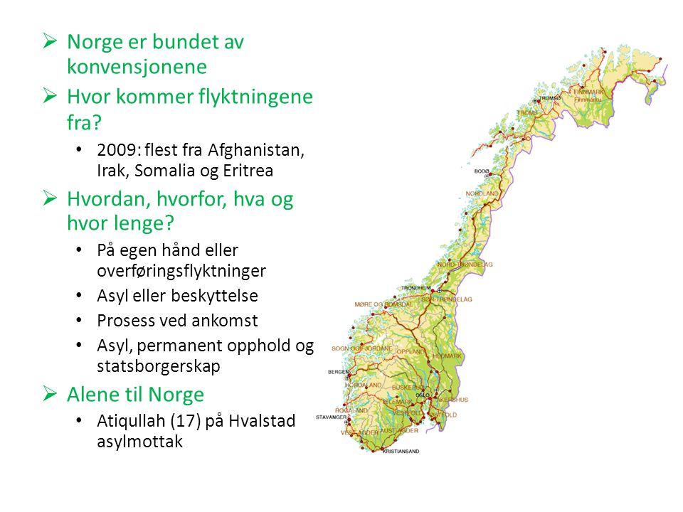  Norge er bundet av konvensjonene  Hvor kommer flyktningene fra.