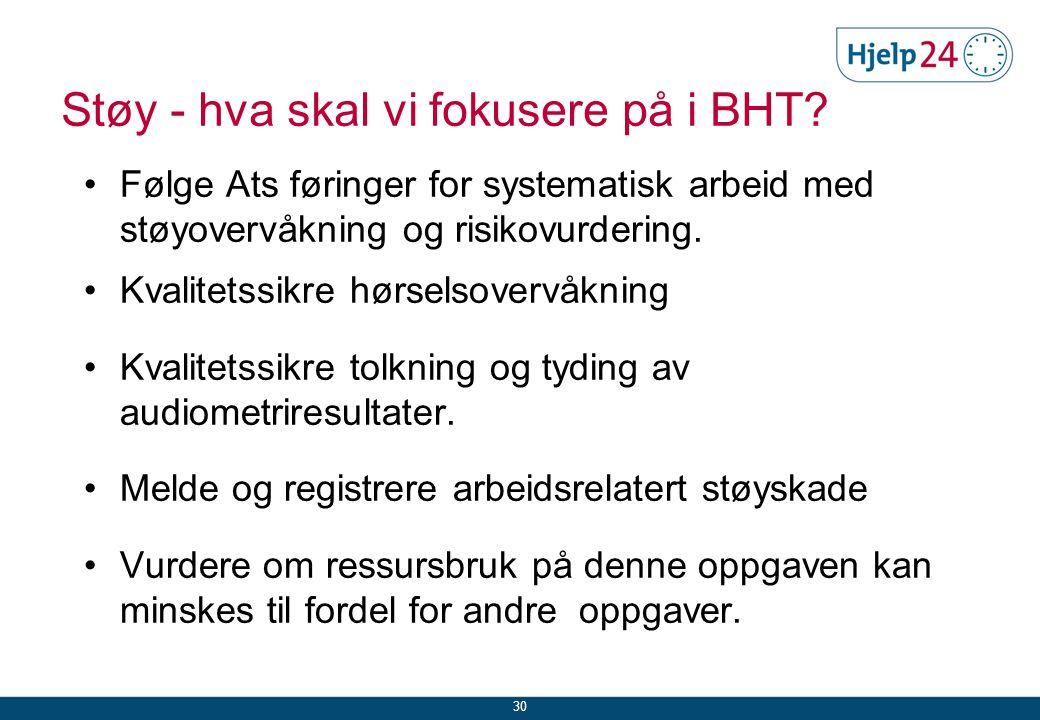 Støy - hva skal vi fokusere på i BHT.