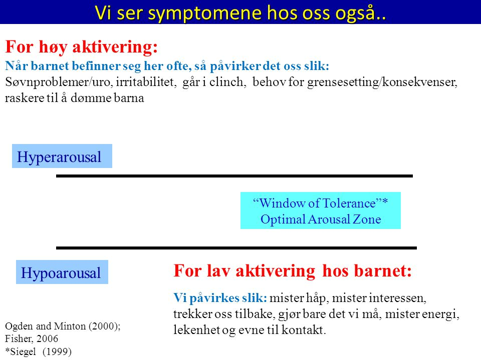 "Vi ser symptomene hos oss også.. ""Window of Tolerance""* Optimal Arousal Zone For høy aktivering: Når barnet befinner seg her ofte, så påvirker det oss"